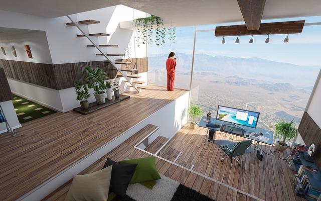 schodiště v domě, psací stůl a židle